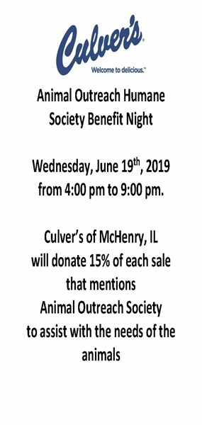Culver's Benefit Night for Animal Outreach Humane Society