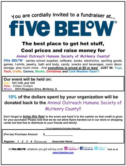 Five Below Fundraising Weekend for Felines!
